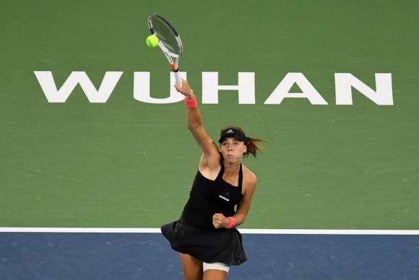 Anett Kontaveit was unable to create an impact on the return today | Photo: Dongfeng Motor Wuhan Open