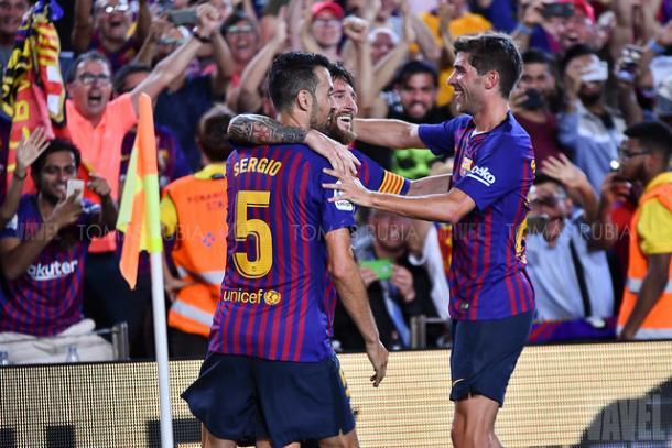 Imagen de los jugadores del Barça celebrando un gol. FOTO: Tomás Rubia