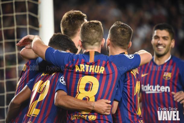 Los azulgranas celebrando un gol en una imagen de archivo / Foto: Noelia Déniz (VAVEL.com)