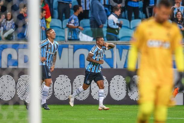 Marinho marcou pela primeira vez com camisa tricolor e ampliou placar diante do Fla. Foto: