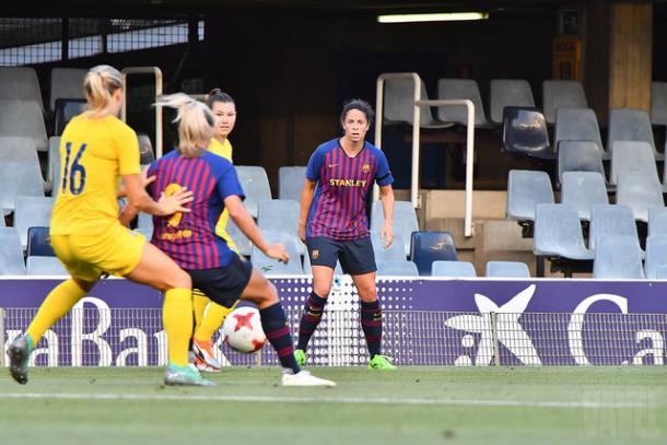 Marta Torrejón contra el Chelsea antes de su lesión. Foto: Tomás Rubia, VAVEL.com