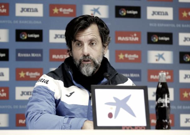 Entrenador del Espanyol, Quique Sánchez Flores, en rueda de prensa. Foto: RCD Espanyol