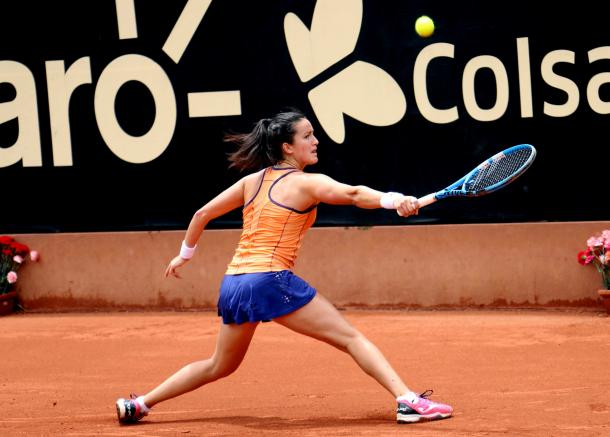 Lara Arruabarrena had the best possible start to the match, though she could not maintain her high level throughout the encounter | Photo: Copa Colsanitas