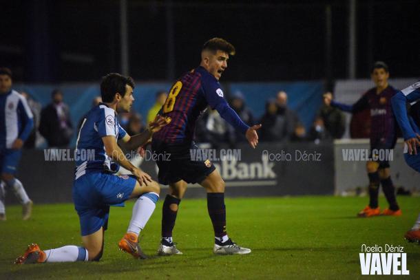 Monchu durante una acción en el partido de ida / Foto: Noelia Déniz (VAVEL.com)