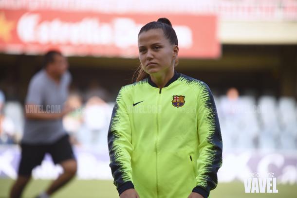 Claudia Pina en un encuentro de Champions | Foto: Noelia Déniz - VAVEL