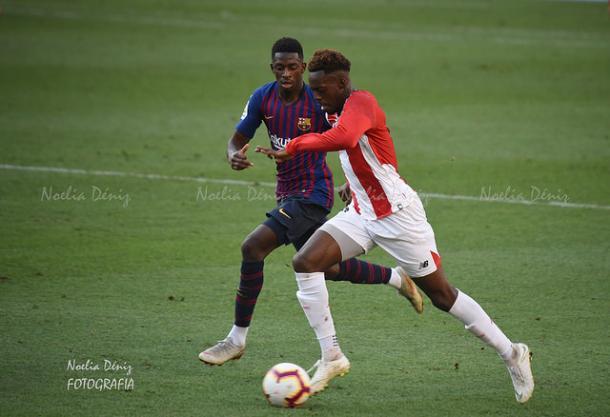 Dembélé y Iñaki Williams en el Barcelona - Athletic de la primera vuelta | Foto: Noelia Déniz (VAVEL)