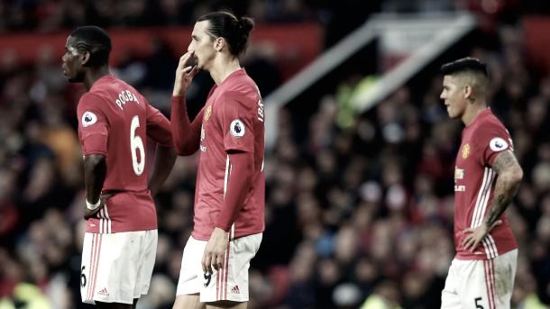De izquierda a derecha, Pogba, Ibrahimovic y Rojo. Foto: Manchester United