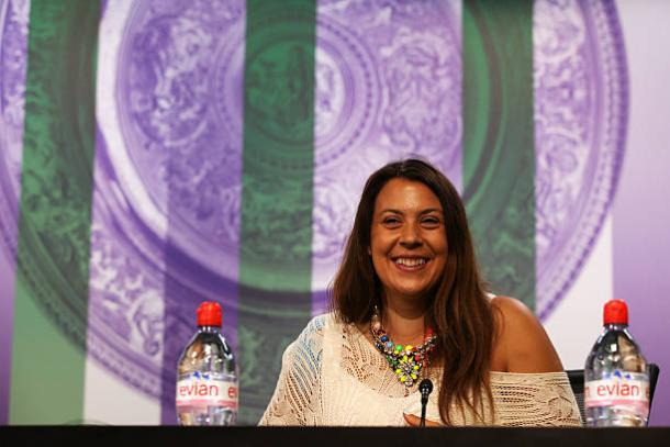 Marion Bartoli at Wimbledon in 2014, the year following her retirement (Getty/Pool)