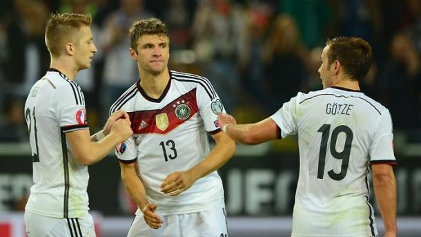 Reus, Muller e Gotze nel match di qualificazione a Euro 2016 con la Scozia. Fonte: Getty Images