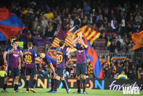 Los jugadores del Barça celebrando la victoria ante el Inter   Foto: Noelia Déniz (Vavel)