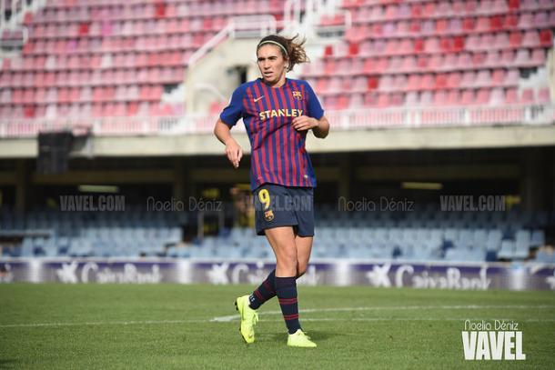 Mariona Caldentey con la elástica del Barça | Foto: Noelia Déniz (VAVEL)