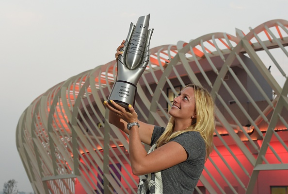 Kvitova claims the inaugural Wuhan Open title. Photo credit: Greg Baker/Getty Images.