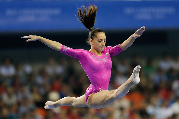 Larisa Iordache on the balance beam at the 2014 World Artistic Gymnastics Championships in Nanning/Getty Images