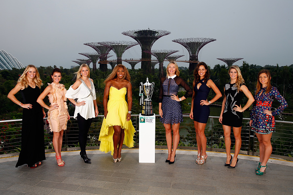 Halep (right) and Bouchard (second from right) were part of the elite eight that made the 2014 WTA Finals, both women were making their tournament debut. Photo credit: Julian Finney/Getty Images.