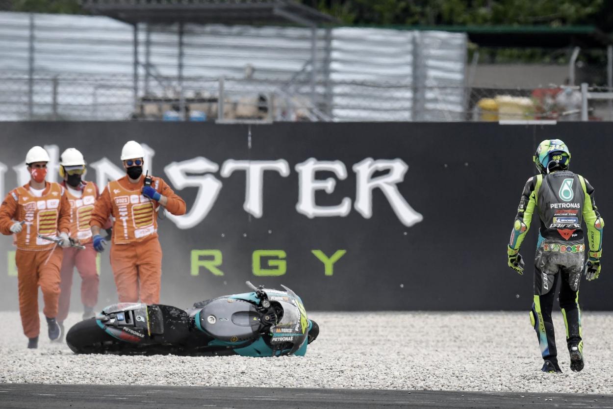 Caída de Rossi en la curva 10 / Fuente: MotoGP