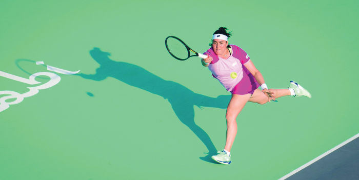 Jabeur reaches for a forehand during her first-round victory/Photo: Jimmie48/WTA Tour