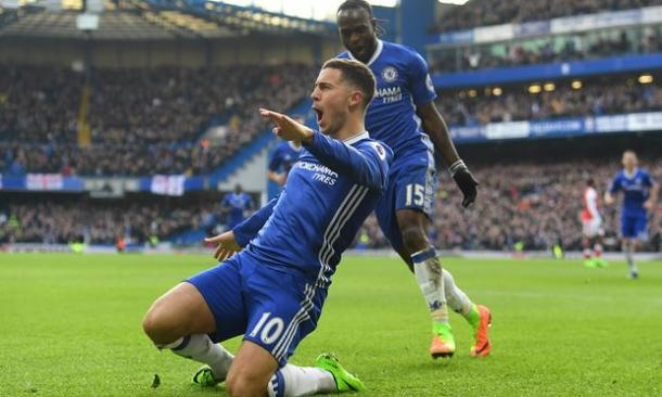 L'esultanza di Hazard. @Skysport.com
