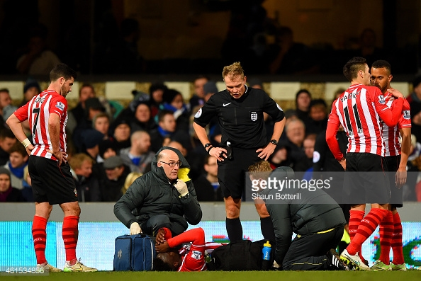Wanyama, just seconds before half-time and his substitution, pulls his hamstring in the FA Cup against Ipswich. Photo: Getty.