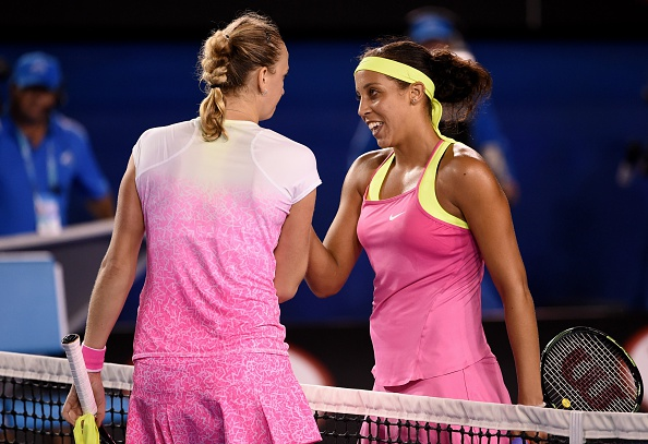 Kvitova and Keys after the conclusion of their third round at the Australian Open last year. Photo credit: William West/Getty Images.
