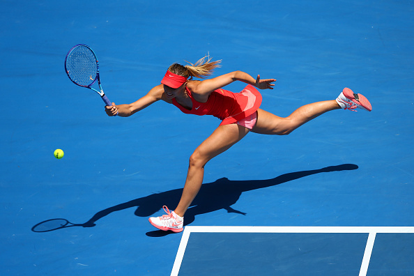Maria Sharapova plays a forehand during day seven of the 2015 Australian Open. Photo: Getty Images/ Clive Brunskill