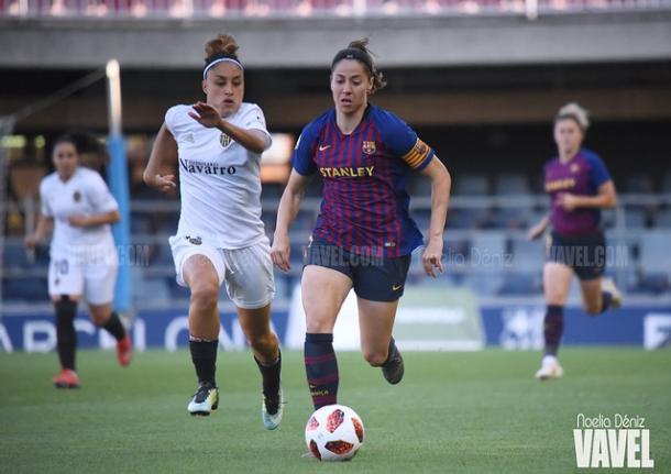 Vicky, durante el encuentro de Liga con el Valencia esta temporada | Foto: Noelia Déniz - VAVEL