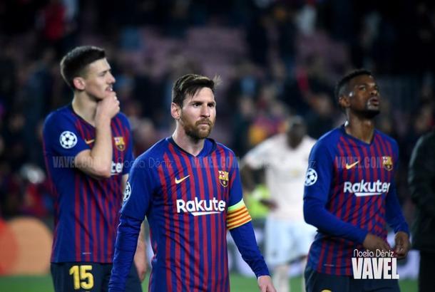Lenglet, Messi y Semedo tras la victoria ante el United | Fuente: Noelia Déniz (VAVEL)