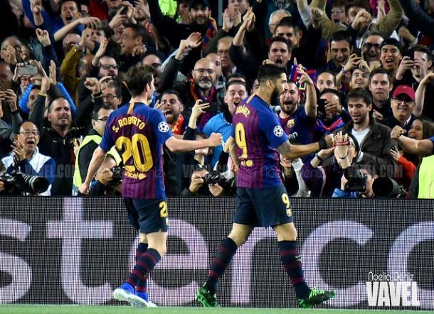 Sergi Roberto y Luis Suárez celebrando el gol. FOTO: Noelia Déniz