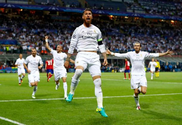 Sergio Ramos celebrates after scoring the opener in the game (Photo: Clive Rose/ Getty Images)