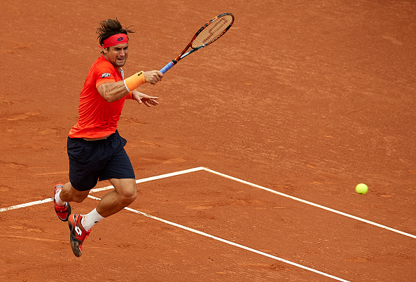 David Ferrer hits a forehand at the Barcelona Open Banc Sabadell/Getty Images