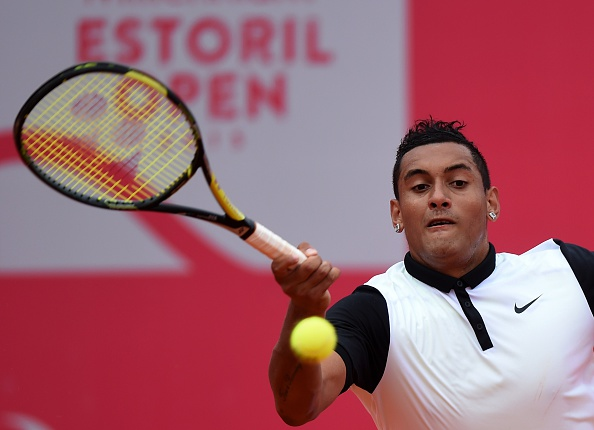 Australian tennis player Nick Kyrgios returns a ball to Spanish tennis player Pablo Busta during the semi-final Estoril Open Tennis tournament in Estoril on May 2, 2015. Kyrgios won 5-7, 7-6, 6-3 and advances for the first ATP final of his carrer. AFP PHOTO/ FRANCISCO LEONG (Photo credit should read FRANCISCO LEONG/AFP/Getty Images)