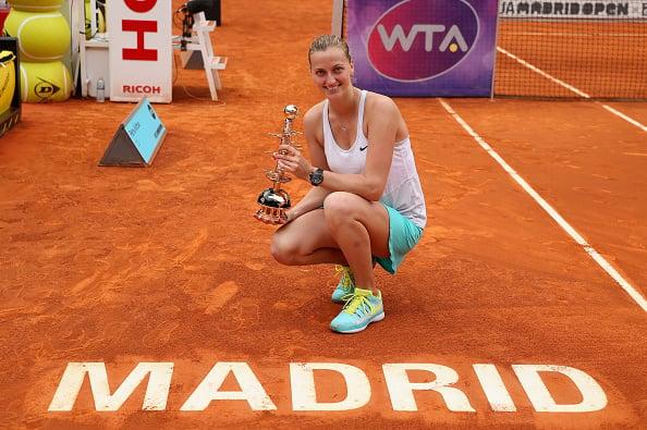 Kvitova celebrates her second title at the Premier Mandatory-level Mutua Madrid Open. Photo credit: Clive Brunskill/Getty Images.