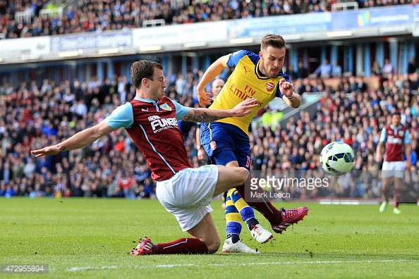 Aaron Ramsey's goal made the difference last time at Turf Moor for the Gunners. | Photo: Getty