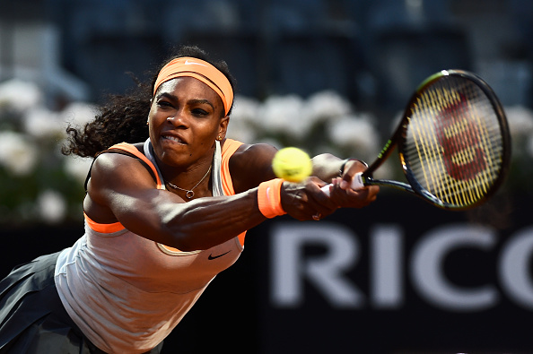 Serena Williams returns a ball at the 2015 Internazionali BNL d'Italia in Rome/Getty Images