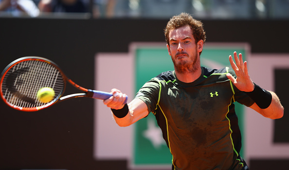 Andy Murray hits a forehand at the Internazionali BNL D'Italia in Rome/Getty Images