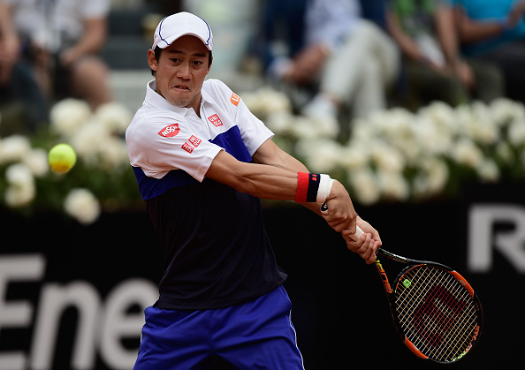 Kei Nishikori strikes a backhand at the Internazionali BNL D'Italia in Rome/Getty Images