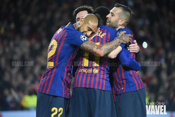 Los jugadores del Barcelona celebrando un gol en Champions | Foto: Noelia Déniz (VAVEL)