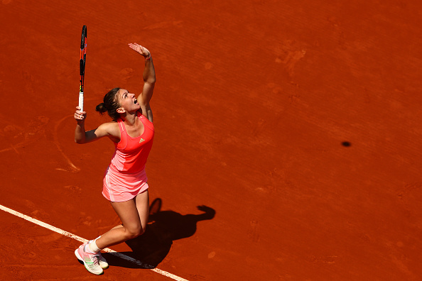 Simona Halep serves at the 2015 French Open in Paris/Getty Images