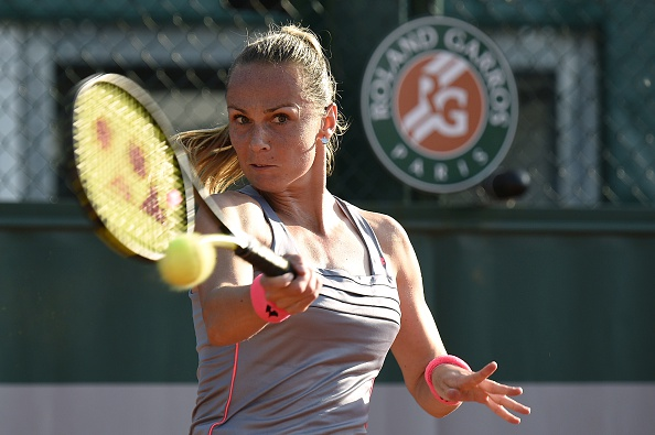 Magdalena Rybarikova hits a forehand at the 2015 French Open in Paris/Getty Images