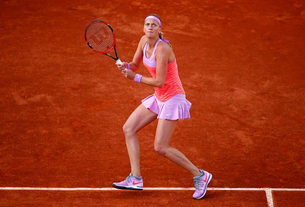Petra Kvitova in action during her fourth round loss at the French Open in 2015 (Getty/Julian Finney)