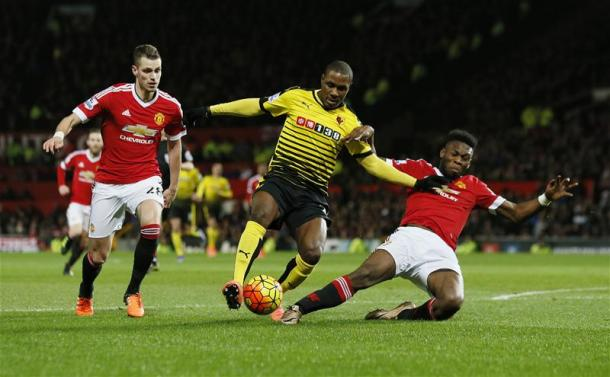 Fosu-Mensah putting in a fantastic challenge against Ighalo In United's 1-0 win | Photo: Getty Images
