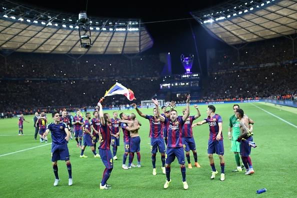 Jogadores do Barcelona celebram título europeu no Olympiastadion/ Foto: Anadolu Agency/ Getty Images