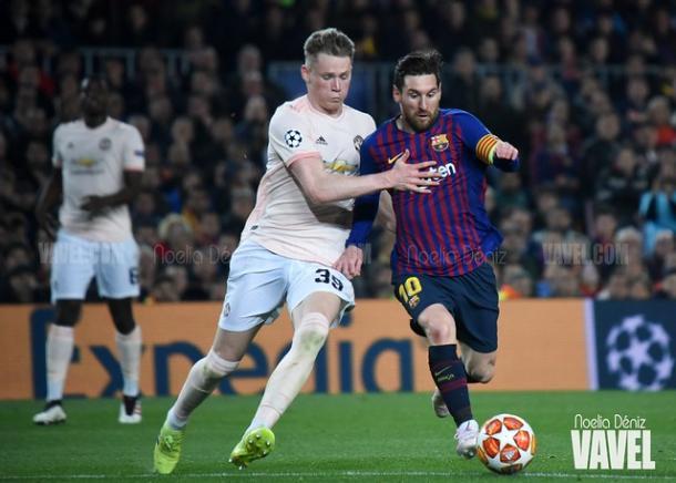 Messi, durante el choque de cuartos con el Manchester United | Foto: Noelia Déniz - VAVEL