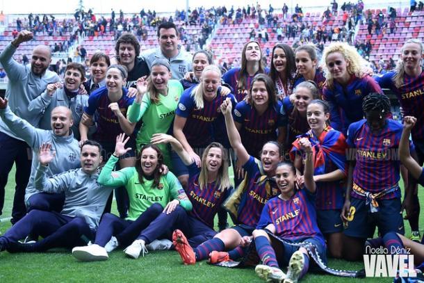 Imagen de la celebración del Barça tras el pase a la final   Fuente: Noelia Déniz (VAVEL)