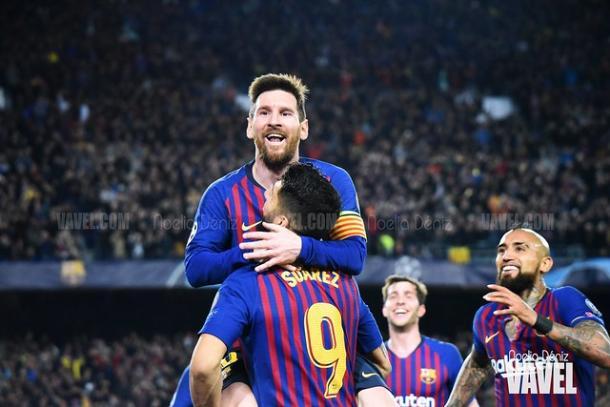 Los jugadores del FC Barcelona celebrando el gol. FOTO: Noelia Déniz