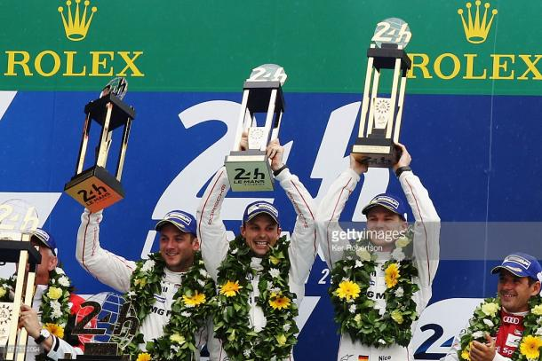 Tandy and Bamber partnered Nico Hulkenberg for a shock Le Mans win in 2015. | Photo: Ker Robertson