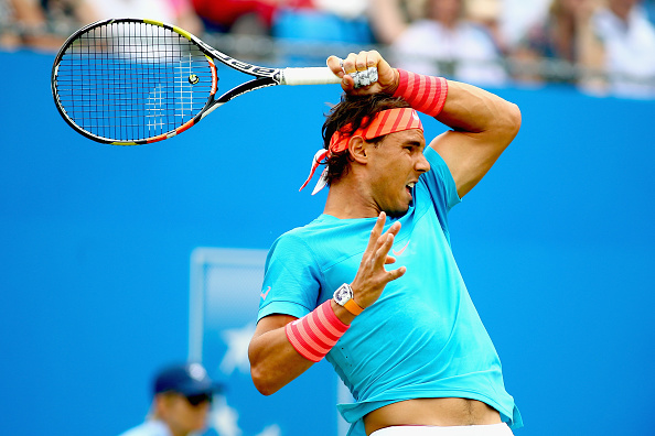 Rafael Nadal hits a forehand at the Aegon Championships at the Queen's Club/Getty Images