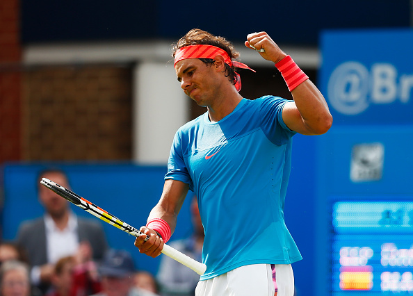 Rafael Nadal shows his frustration after a point at the Aegon Championships at the Queen's Club/Getty Images