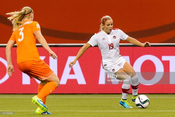 Canada's Adriana Leon wrapped up this year's first hat trick of the knock-outs
