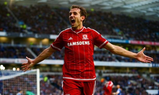 Stuani celebra un gol con la camiseta del Middlesbrough. Foto: The Guardian