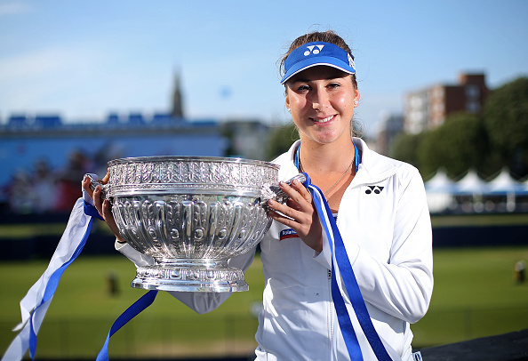 Belinda Bencic poses with the trophy after defeating Agnieszka Radwanska at the 2015 Aegon International. (Photo by Ben Hoskins/Getty Images for LTA)